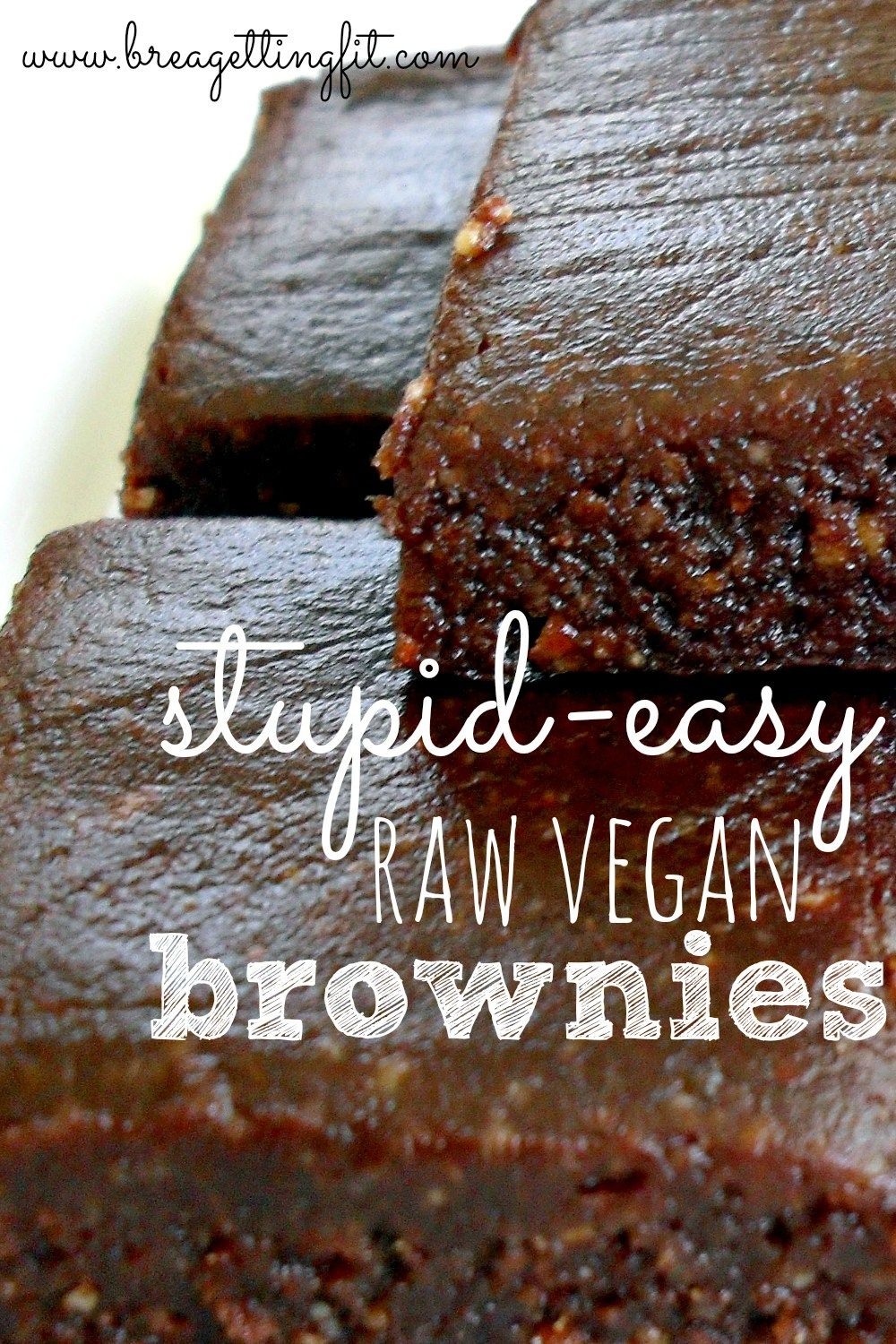 1 cup raw almonds, soaked for 1 hour 3/4 cup dates, pitted dash salt 1 tsp vanilla extract 1/4 cup raw cocoa powder 1/4 cup raw agave or raw honey (use less if you want truly 'dark chocolate' brownies) Put the almonds and dates into the food processor, an