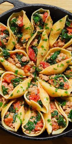 Photo of Ricotta Stuffed Pasta Shells with Sausage and Spinach