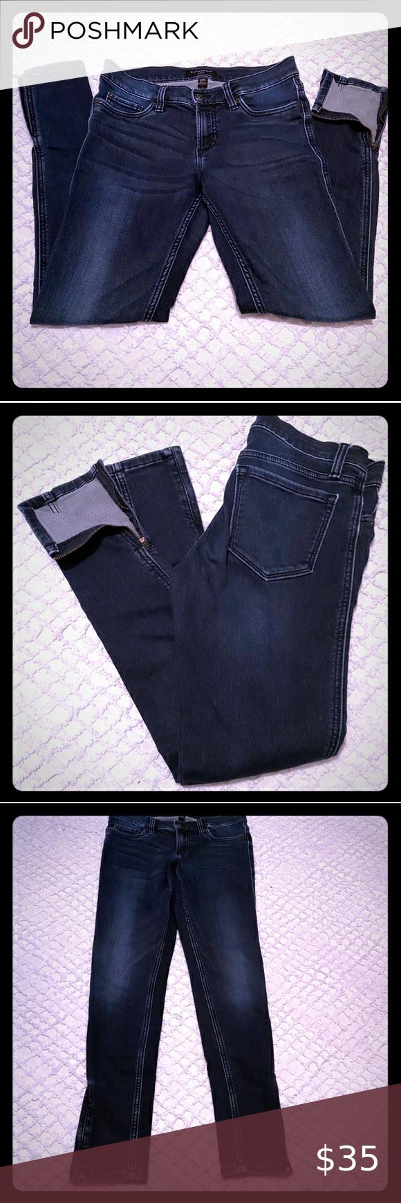 Banana Republic Skinny Jeans Zipper Ankles 27 4 Womens Jeans Skinny Dark Blue Skinny Jeans Blue Skinny Jeans