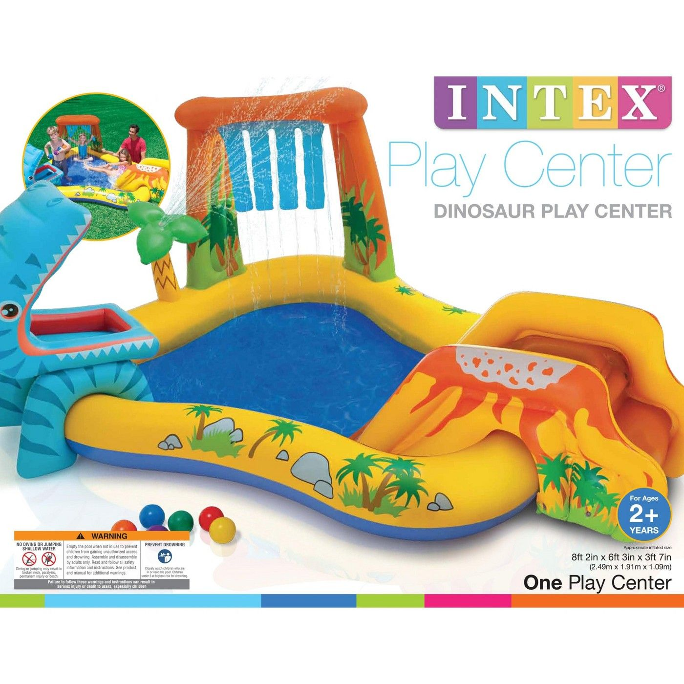 Intex Dinosaur Play Center Kiddie Pool Inflatable Rainbow Ring Water Play Image 5 Of 6 Dinosaur Play Kids Play Centre Play Centre