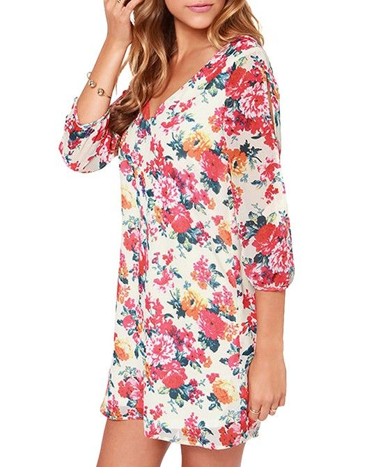 Flower Print 3/4 Sleeves V-neck Dress