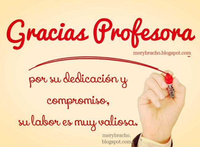 Gracias Profesora Agradecimiento Palabras De