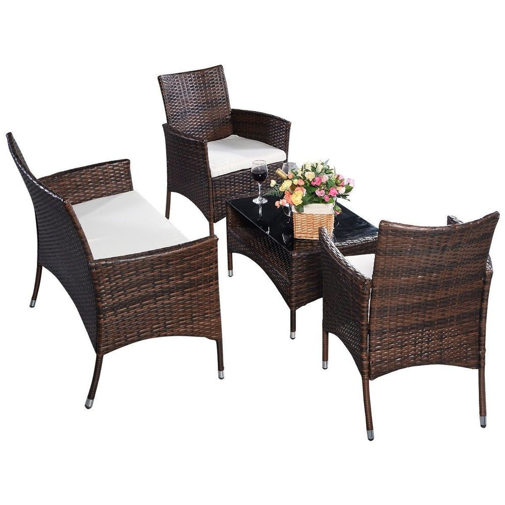 Pcs outdoorindoor patio garden furniture set seat lawn steel frame