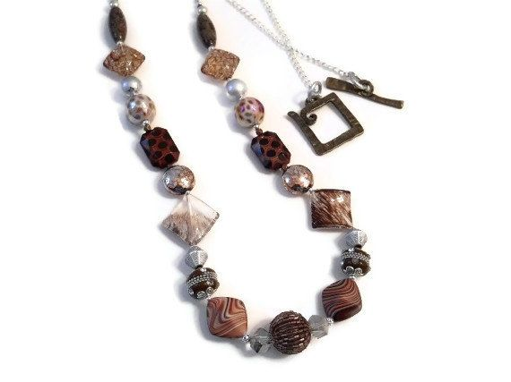 Brown Cream Silver Extra Long Multi Bead Chain by JustAspire, $35.00