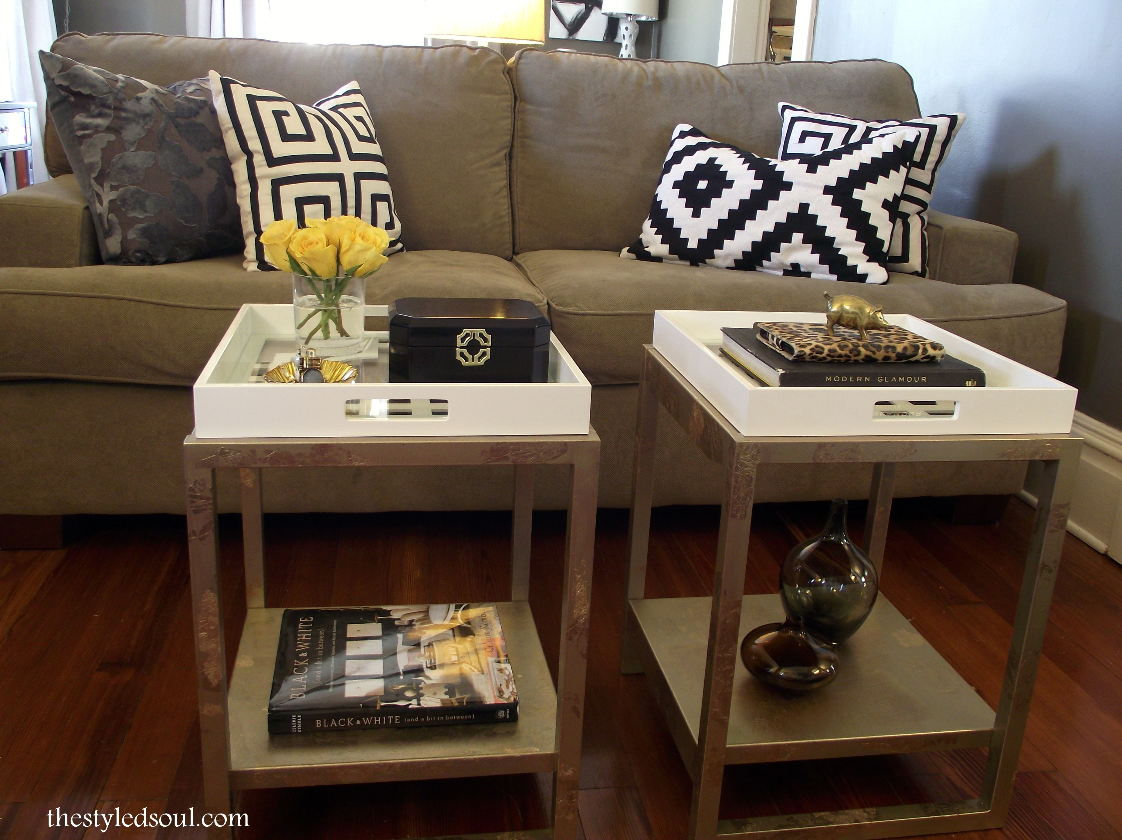 DIY Tray Tables with Gold Leaf | Tray table, Table ...