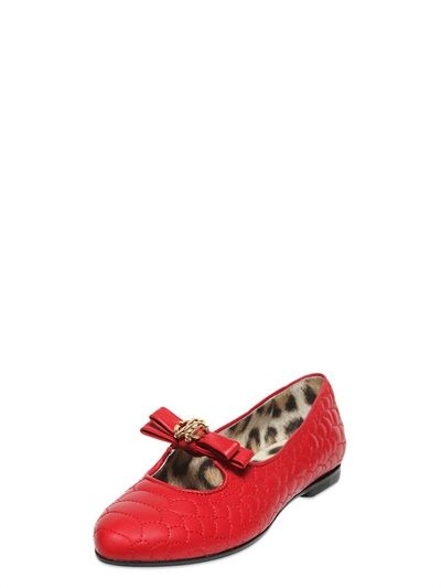 QUILTED NAPPA LEATHER FLATS WITH BOW