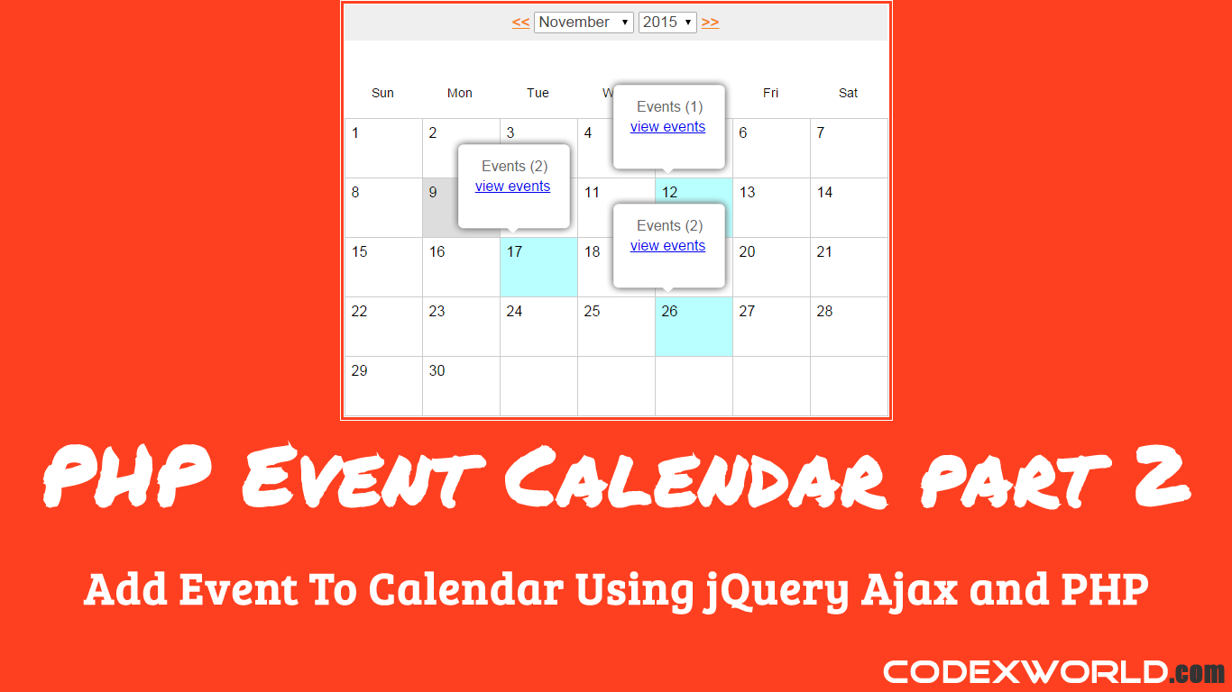 add event to calendar using jquery ajax and php php pinterest