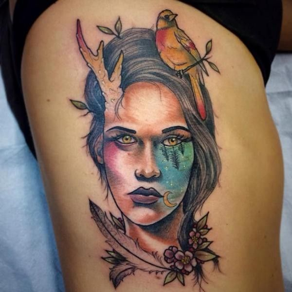 Style Colored Woman Face With Bird And Flowers Tattooimages Biz Tribute Tattoos Free Bird Tattoo Birds Tattoo