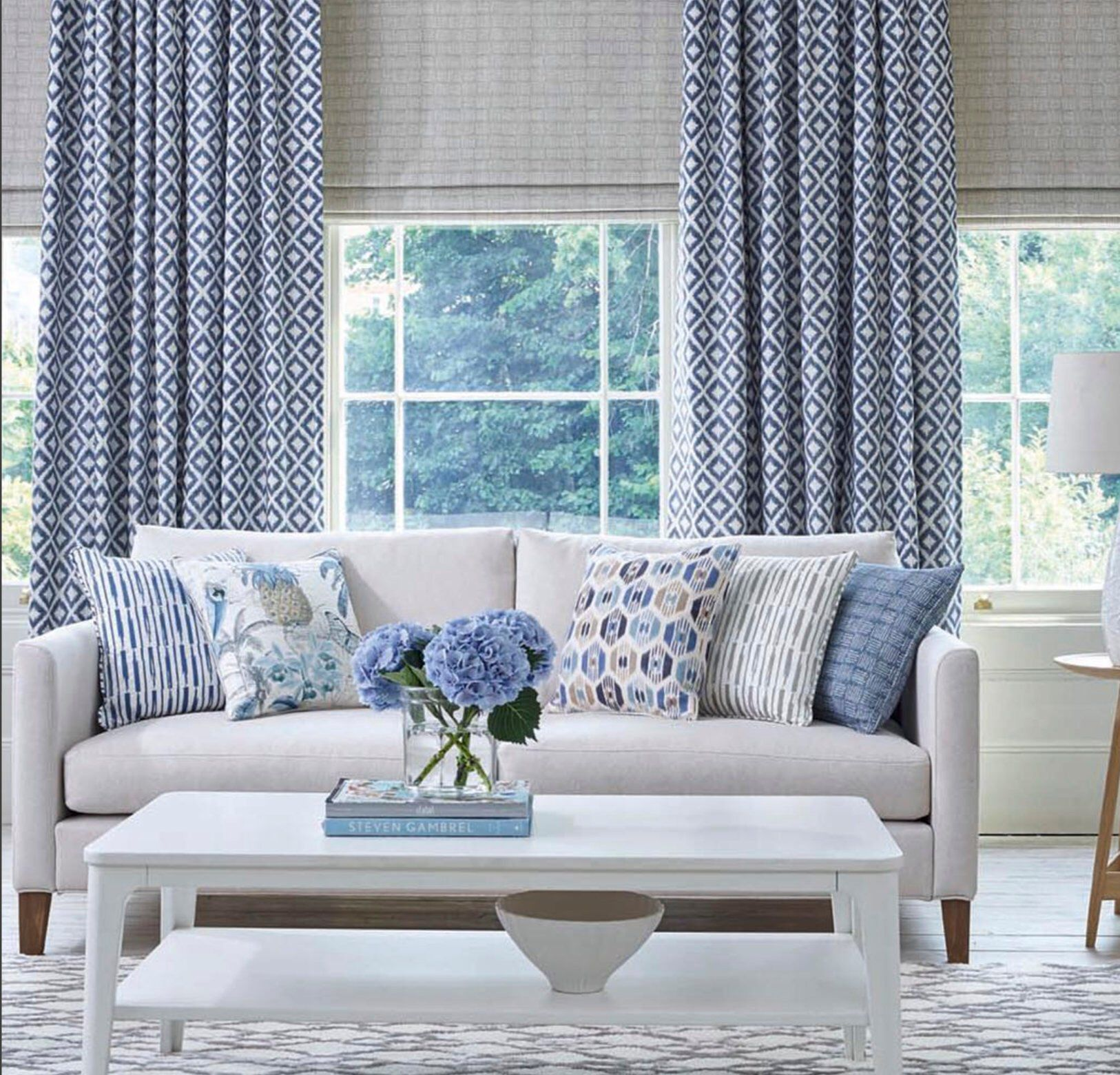Blue Ikat Curtains Diamond Pattern Curtains Living Room Curtains