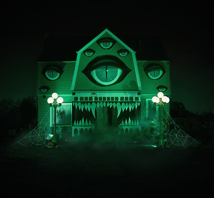 Artist Transforms Her Parent\u0027s House Into a Spooky Monster for - decorate house for halloween