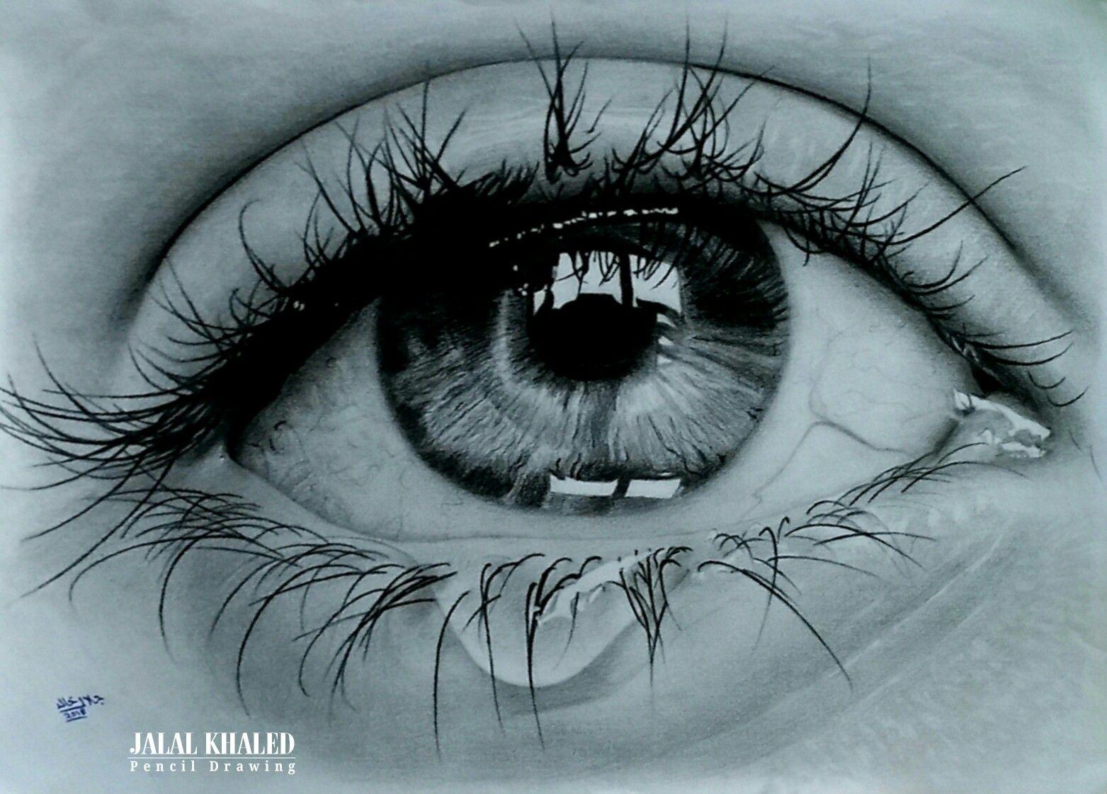 Pencil Drawing Hd Eye Tear By Jalal Khaled Crying Eyes Eyes Artwork Tears In Eyes