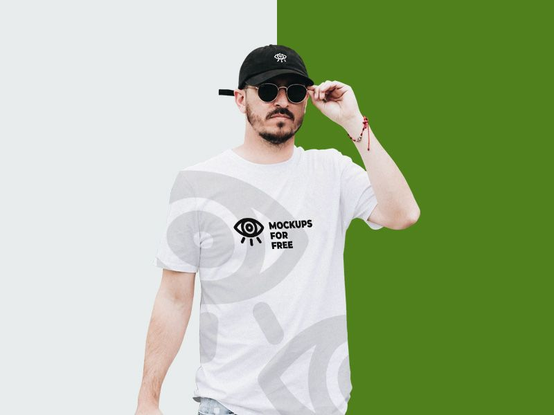 Download Psd Mockup Of A Man Wearing T Shirt And Cap You Can Easily Change Artwork For T Shirt And Cap To Replace With Yours Psd F Shirt Mockup Clothing Mockup Shirts