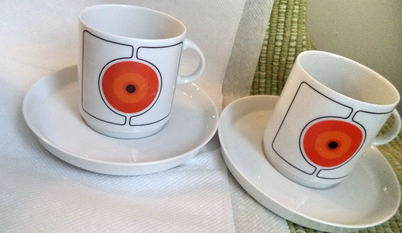 LOT 26 Rosenthal Thomas ECLIPSE 70s vintage China Dinnerware Mid Century Modern cups saucers plates creamer sugar bowl dinner plates salad plates cake ... & LOT 26 Rosenthal Thomas ECLIPSE 70s vintage China Dinnerware Mid ...