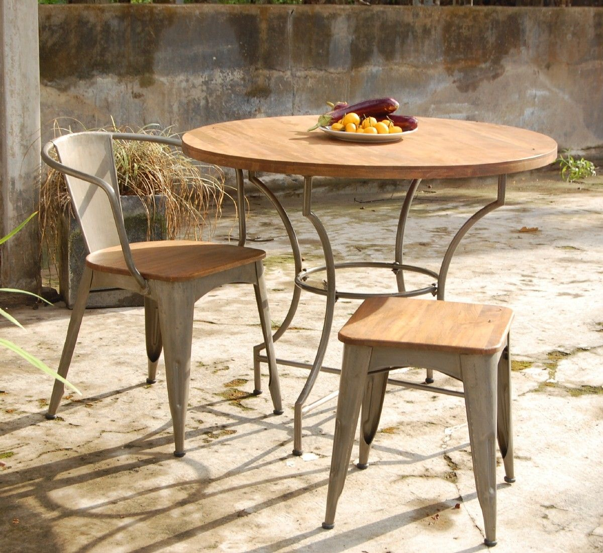 Indoor Outdoor Dining Set With Industrial Steel And Mango Wood Magnificent Mango Wood Dining Room Table Decorating Inspiration
