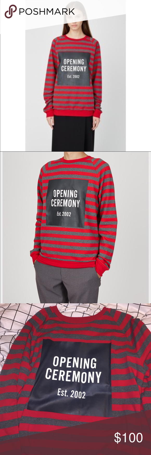 Opening Ceremony raglan sweater Worn once. Brand new condition. 10/10. Opening ceremony red and gray striped sweater in men's size large. Posted picture of both genders wearing the sweater. Front has the logo and back has mirror image of front logo. So be warned you'll be getting a lot of comments on how it's backwards on the back. Opening Ceremony Sweaters Crewneck