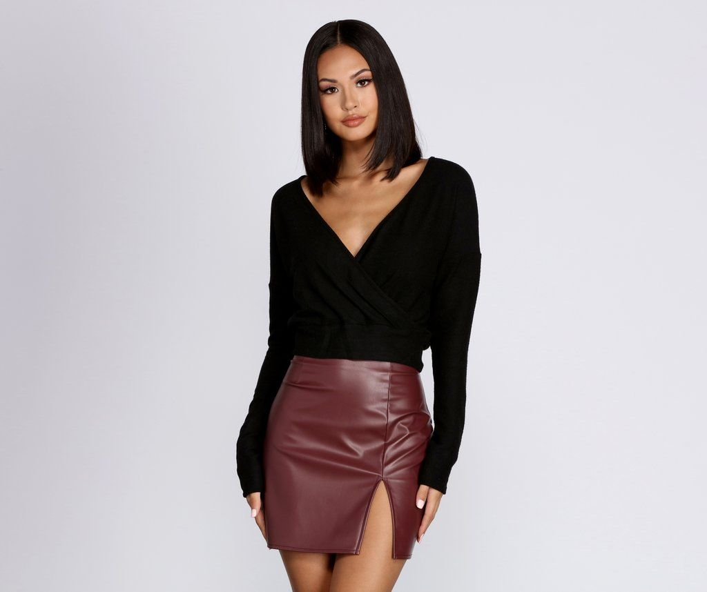 Wrapped In Knit Crop Top #blackcroptops
