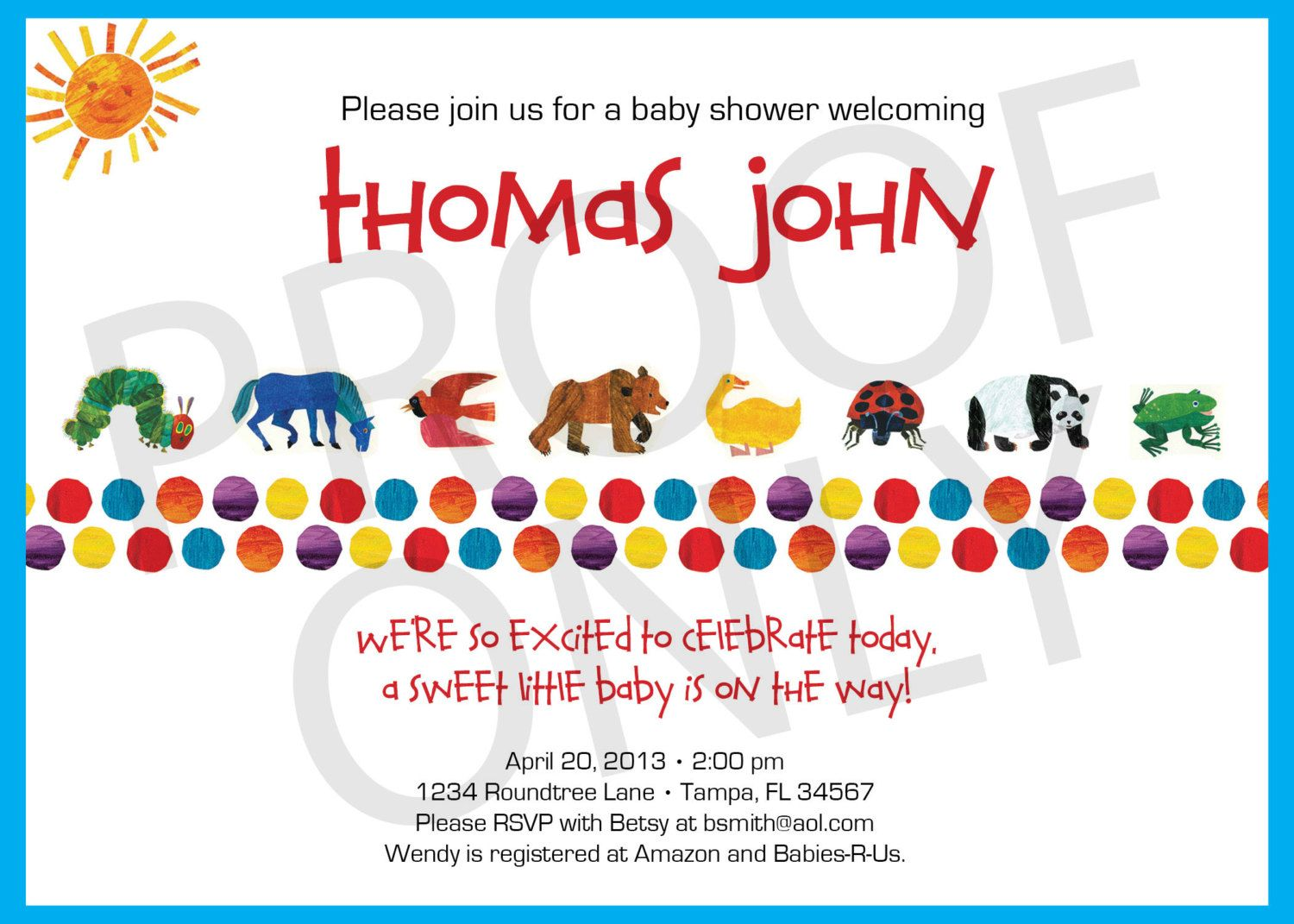 PRINTABLE Eric Carle inspired baby shower invitation 1200 via – Eric Carle Birthday Invitations