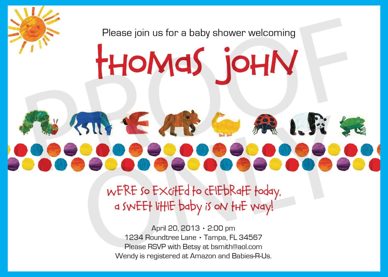 Printable Eric Carle Inspired Baby Shower Invitation 12 00 Via