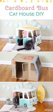 Turn an empty box into the cutest cat house This VW Bus Katz  one  Turn an empty box into the cutest cat house This VW Bus Katz  one