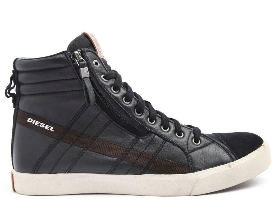 Baskets homme MenLook, achat Sneakers montantes cuir noir D-String DIESEL  prix promo MenLook