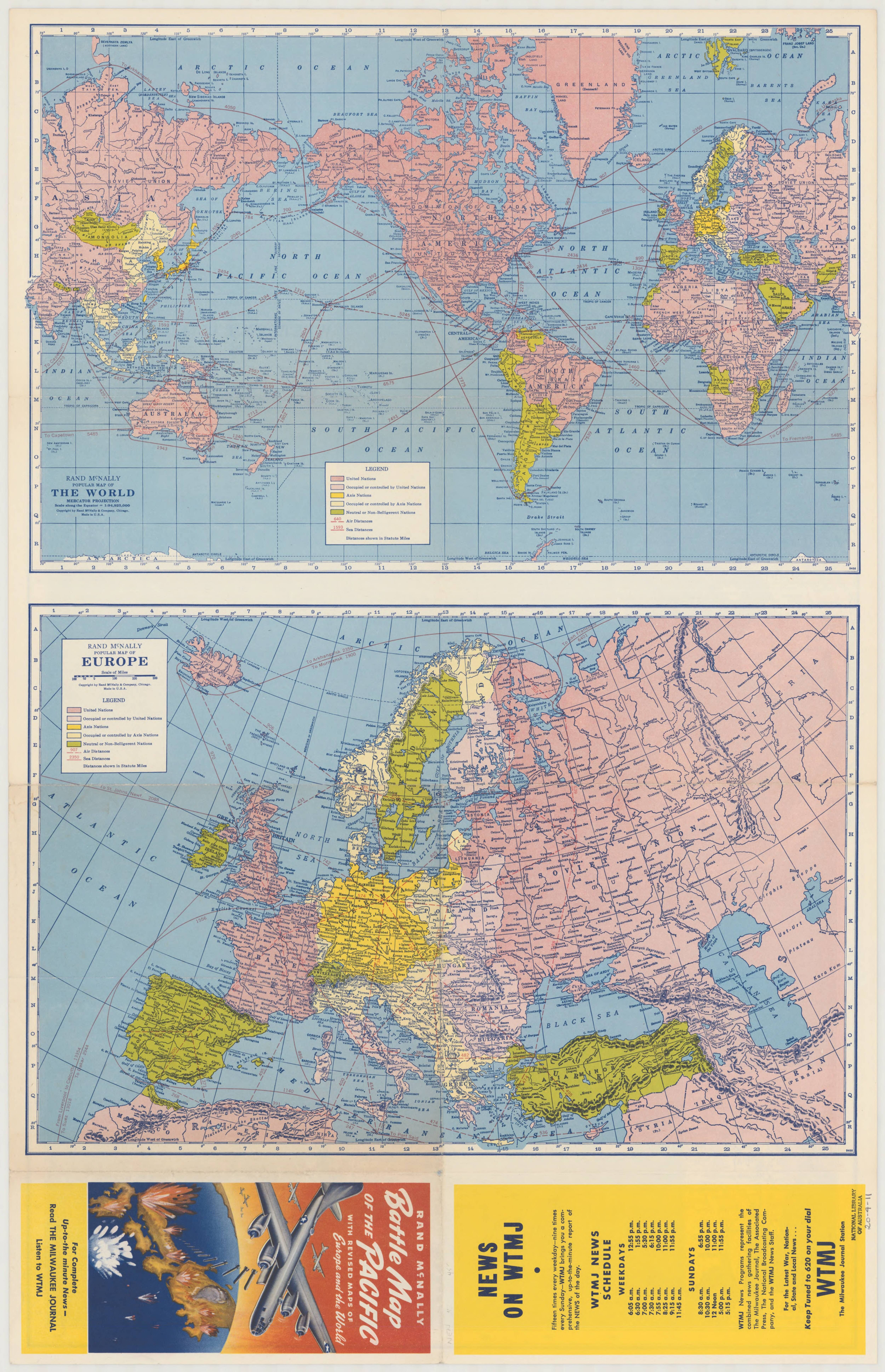 1944 Battle map of the Pacific : with revised maps of Europe and the ...