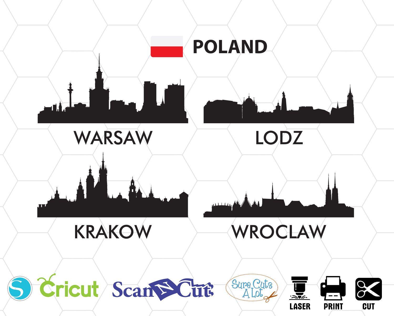 Poland city svg Warsaw svg Lodz svg Krakow svg Wroclaw