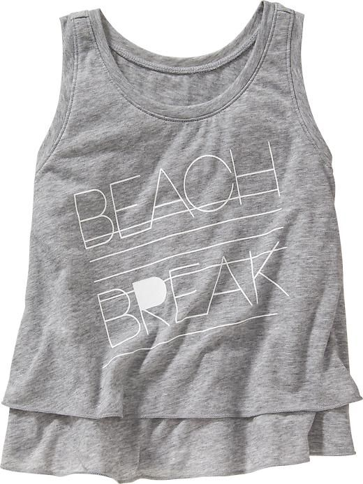 Girls Graphic Double-Layer Tanks