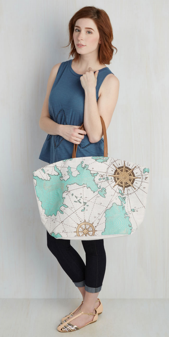 world map print tote