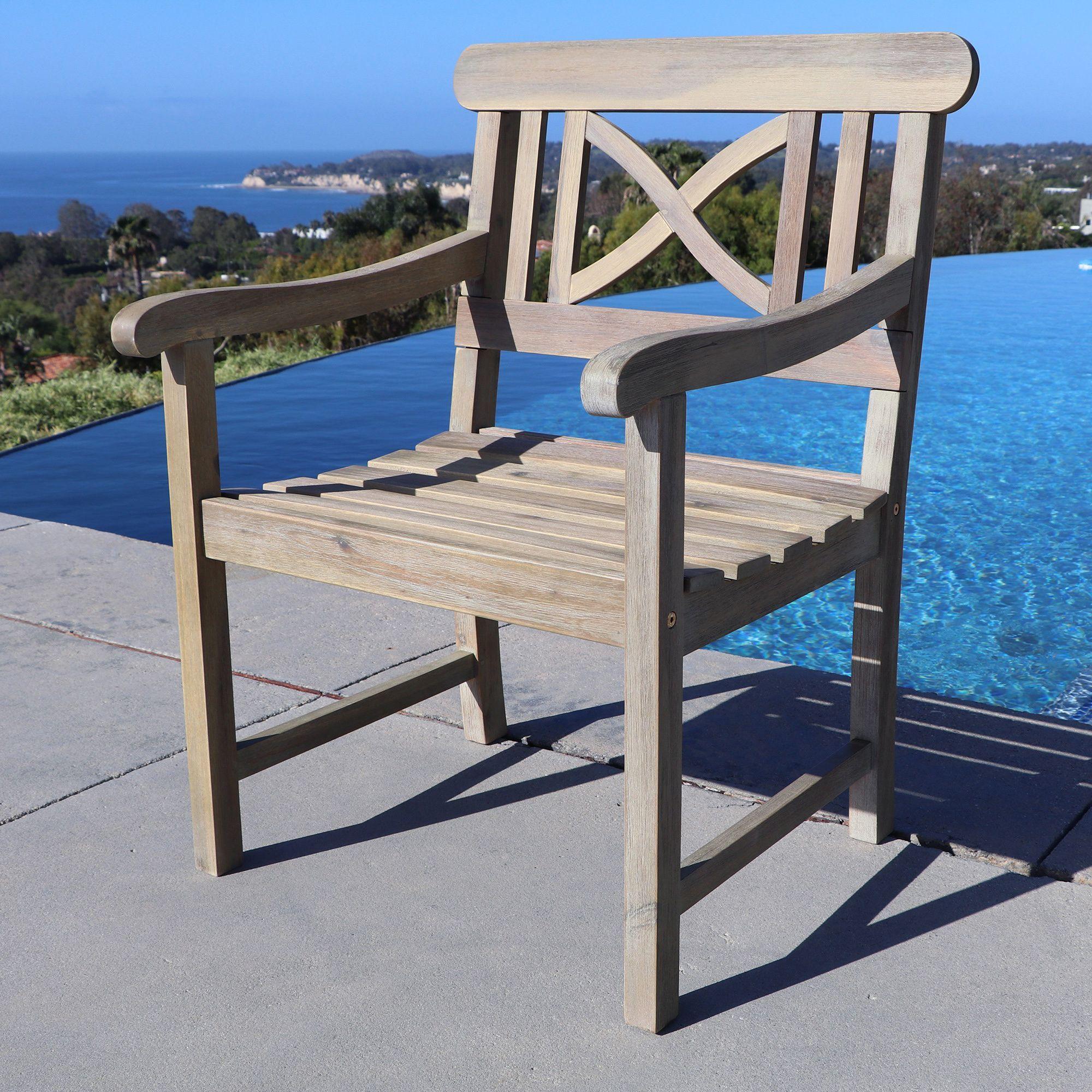 Vifah renaissance weather resistant outdoor hand scraped hardwood armchair outdoor furniture grey patio furniture