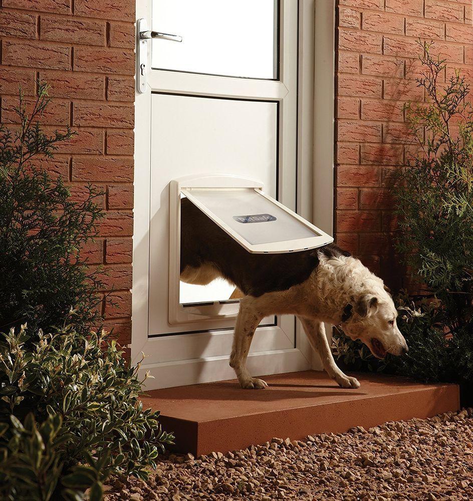 Extra Large Pet Dog Door Flap Safe Lockable 2 Way Entrance White