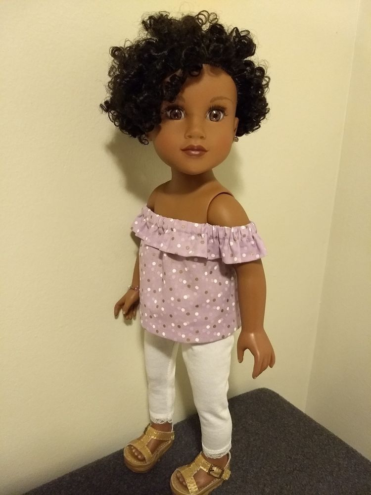 """Pink Top /& Heart Leggings Outfit made for 18/"""" American Girl Doll Clothes"""
