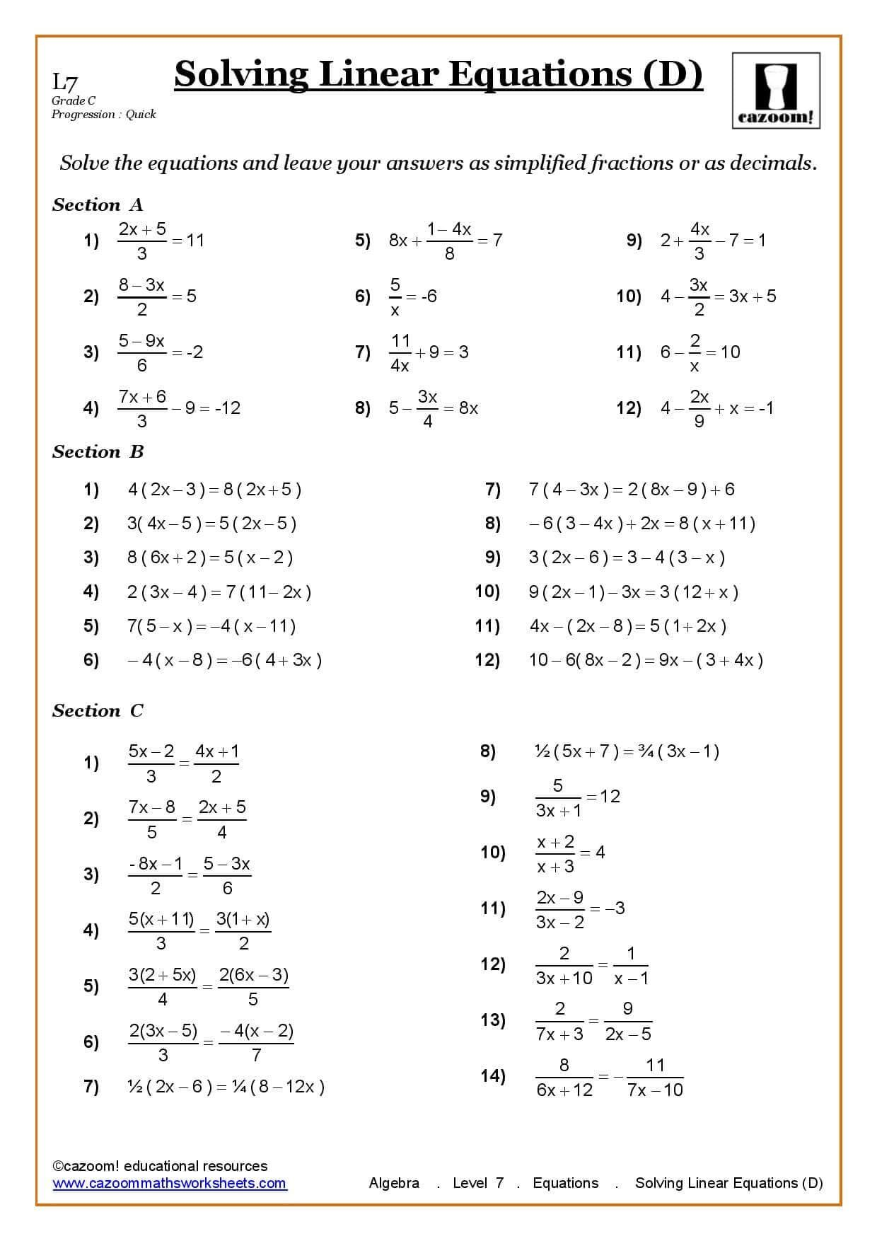 Solving Equations Maths Worksheet | fişe matematice cu A-Z | Pinterest