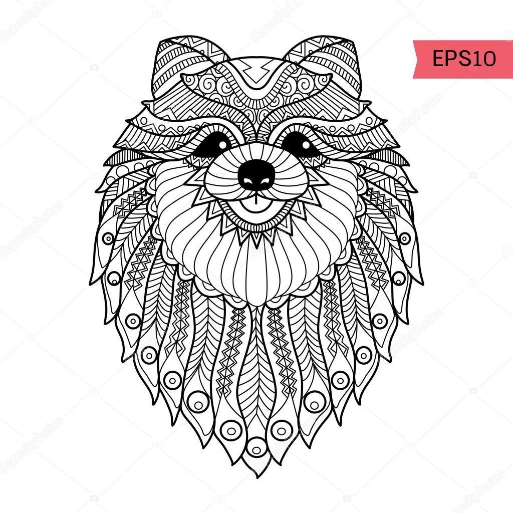 Pomeranian outline   Art   Dog coloring page, Dog background ...