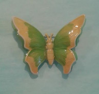 Vintage Butterfly Brooch made in  W Germany. Green and Yellow Enamel.