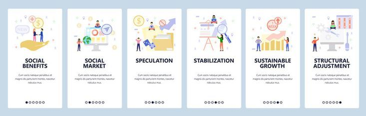 Mobile app onboarding screens Social benefit and welfare business charts and presentation financial growth Vector banner template for website and mobile development Web s...