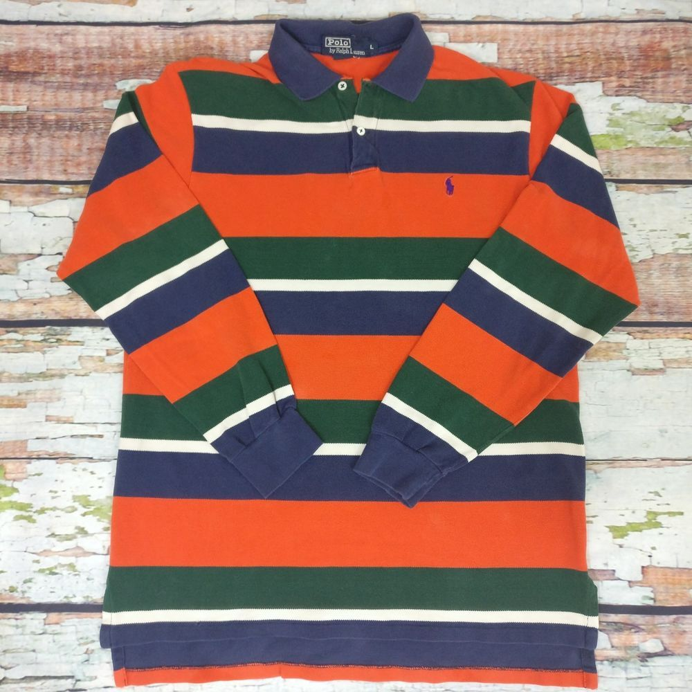 bb398c29c36 RALPH LAUREN POLO Mens RUGBY SHIRT Orange Blue Green STRIPED Long Sleeve  Large A #PoloRalphLauren #PoloRugby