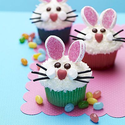 Easter bunny face cupcakes. Idea from All You. You can substitute items that you have in your pantry like pretzels instead of licorice. Be creative!