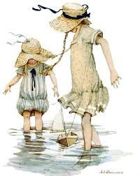 Holly Hobbie, 2 girls wading in water with boat