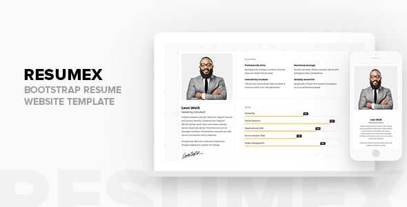 Nice Resumex Bootstrap Resume Web Site Template Resume Cv