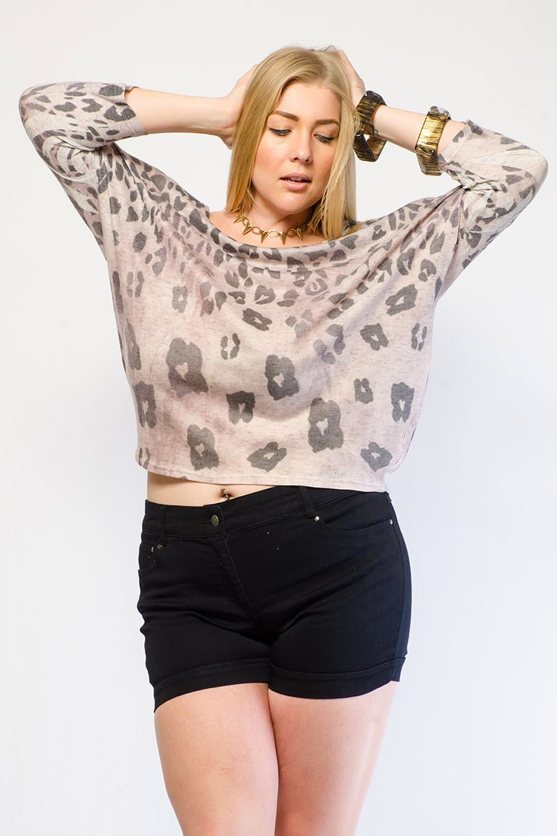 OMBRE CHEETAH PRINT DOLMAN TOP $20.99