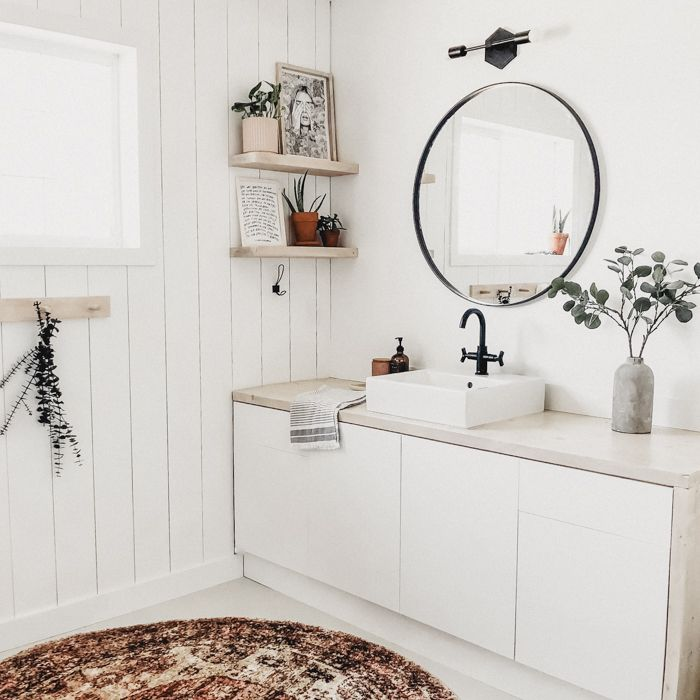 A New Bathroom Accent Wall How To Hang A Mirror On Tile Love Create Celebrate Bathroom Accent Wall Bathroom Accents Modern Bathroom Renovations