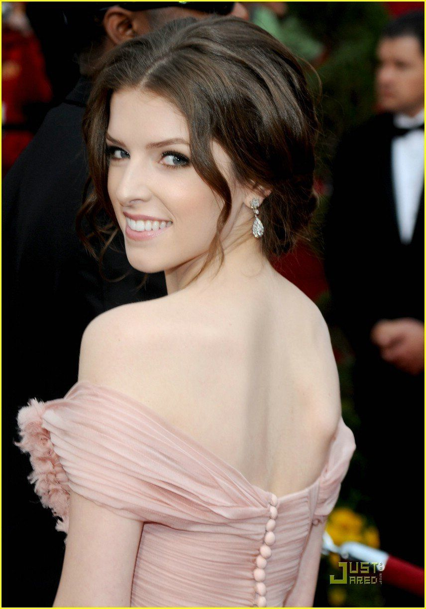 Anna Kendrick Celebrity Pink Off Shoulder Dress