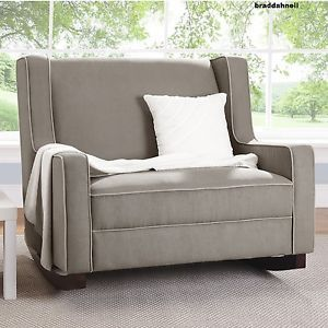 Genial Baby Rocker Nursery Double Wide Rocking Chair Taupe Upholstered Furniture  Taupe