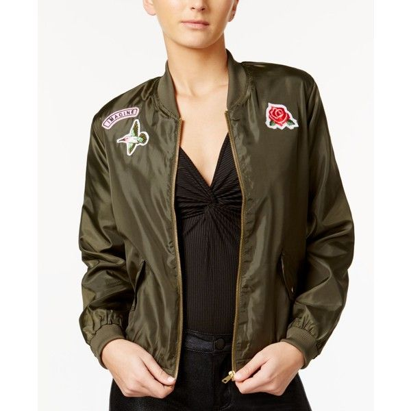 9df5d7b29 Material Girl Patch Bomber Jacket, ($25) ❤ liked on Polyvore ...