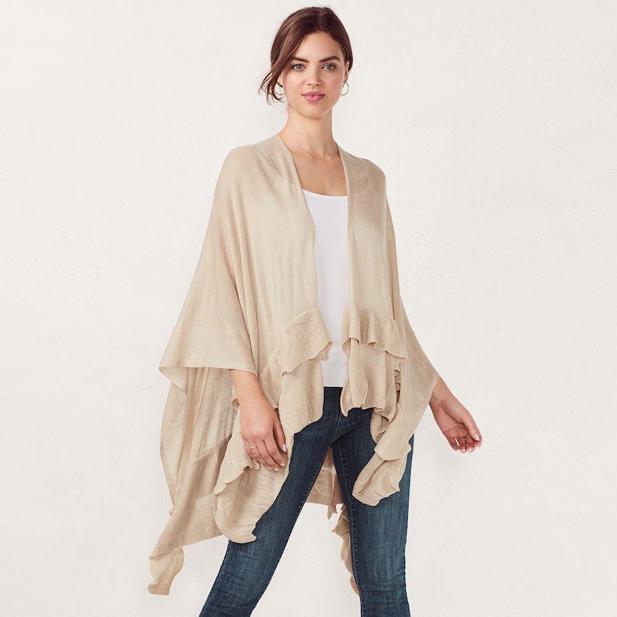 53dccdac355a5 Women's LC Lauren Conrad Double Ruffle Ruana   Products   Fashion ...