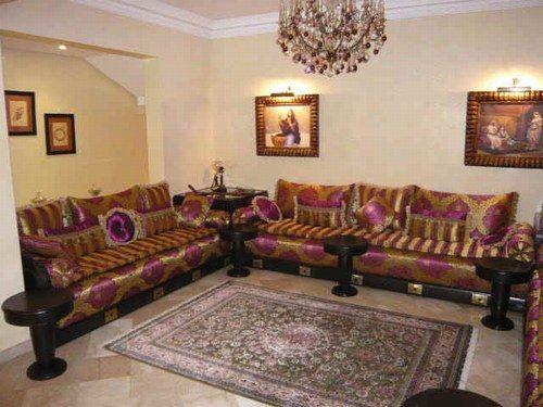 Salon marocain tapiseerie marrakech maroc fabrication - Style de salon marocain ...