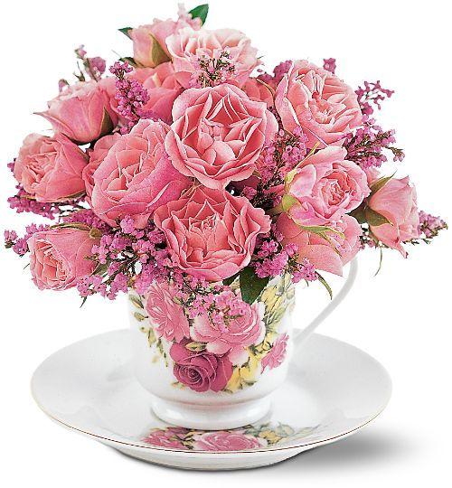 Tf190 1 Flowers In Tea Cup Teacup Flowers Floral Centerpieces Fresh Flowers Arrangements