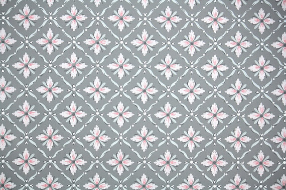 1940 S Vintage Wallpaper Pink And Gray Geometric With Metallic Silver Accents Vintage Wallpaper Pink And Grey Wallpaper Geometric Vintage Wallpaper
