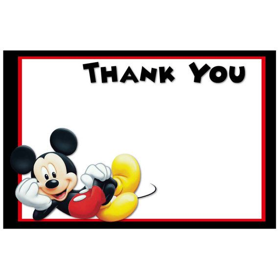 Printable Mickey Mouse Thank You Cards Digital Mickey Mouse Party Supplies Diy Cupcake Toppers Party Decorations Birthday Boy Disney Mickey Mouse Party Supplies Mickey Mickey Mouse