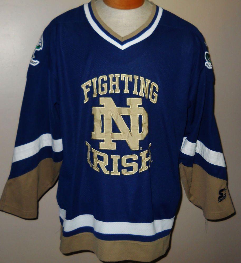 half off 6ae1a e0e21 VTG Starter Notre Dame Fighting Irish Hockey Jersey Large College  University 90s  Starter  NotreDameFightingIrish
